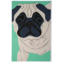 Patch-Collection: Shonibares pug dog Nr. 2 (Fassung dunkelblau/grün), Leinwandobjekt